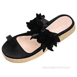 Women Summer Casual Daily Flower Slip On Platform Sandals Thick Bottom Slippers