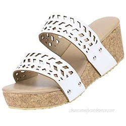 Women's Summer Slip-On Wedges Hollow Out Beach Open Toe Breathable Sandals Shoes